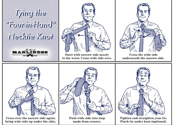 How to Tie a Four-in-Hand Necktie Knot: Your 60 Second Visual Guide   The Art of Manliness