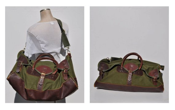 Large vintage leather and cordura hunting bag