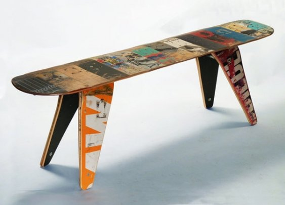 Recycled Skateboard Bench