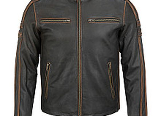 Black Rivet Antique Leather Cycle Jacket - Wilsons Leather