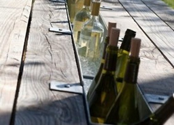 Gutter in a picnic table