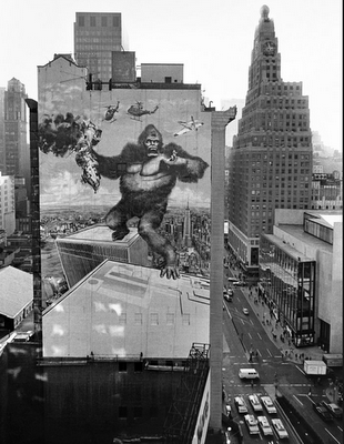 copyranter: King Kong billboard, midtown Manhattan, 1976.