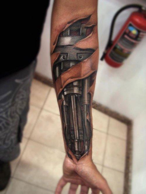 Incredible Cyborg Arm Terminator Tattoo