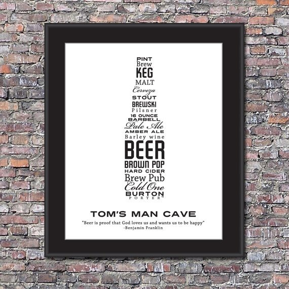 Man Cave Beer Lover Custom 8 x 10 Canvas by unlockmystory on Etsy