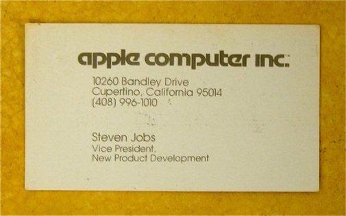 Steve Jobs' Business Card, 1979
