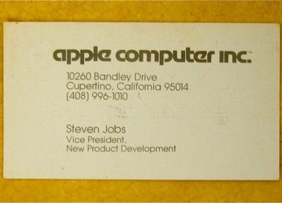 Steve Jobs' Business Card, 1979