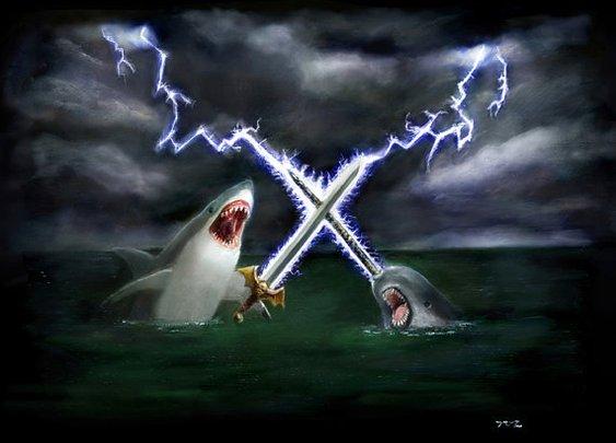 Shark vs Narwhal 16x20 by LegendaryTigerHero on Etsy
