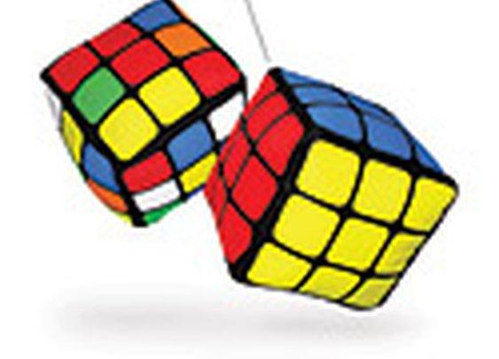 Rubik's Cube Fuzzy Dice Danglers