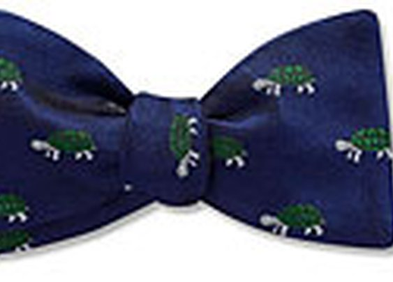 Terrapin bow tie - silver-green turtle pictorial on navy - Bill's Private Stock