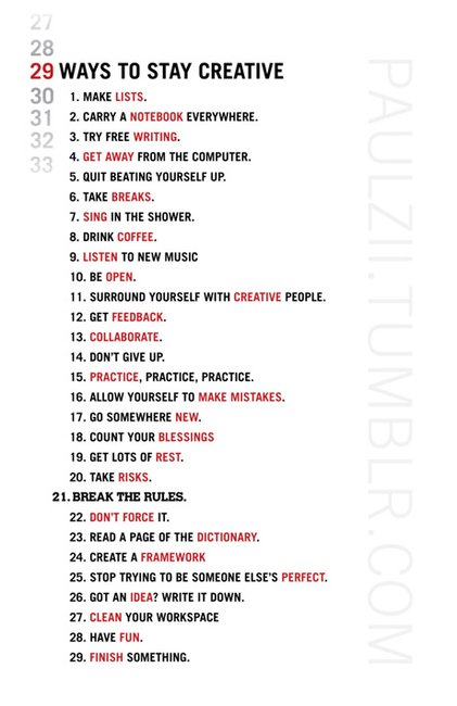 29 ways to stay creative | creativebits™