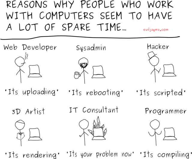 Reasons why people who work with computers seem to have a lot of spare time.