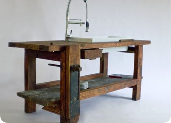Creative Woodworking #23: Old Workbench turned into a Vanity with Sink - by dakremer @ LumberJocks.com ~ woodworking community