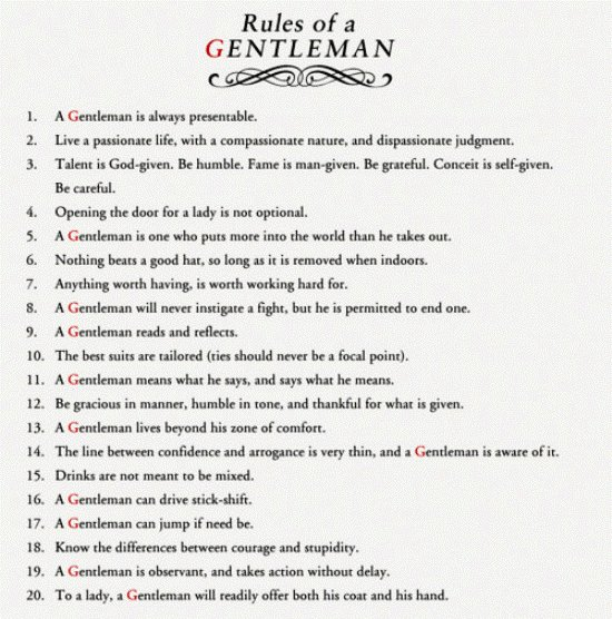 Rules Of A Gentleman Gentlemint