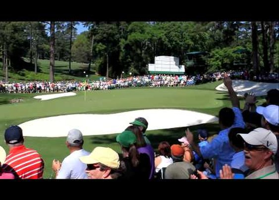 Martin Kaymer skips one off the water for a hole-in-one in Masters practice round (BEST VIEW) [HD]      - YouTube
