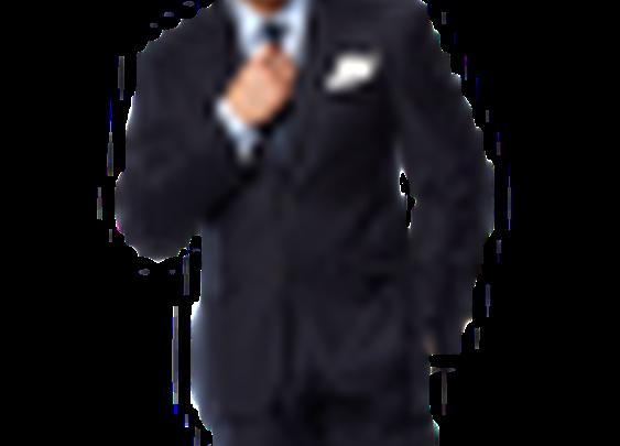Black Lapel - Solid Navy Blue Suit