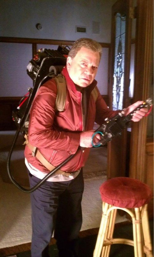 William Shatner Wearing a Ghostbusters Proton Pack