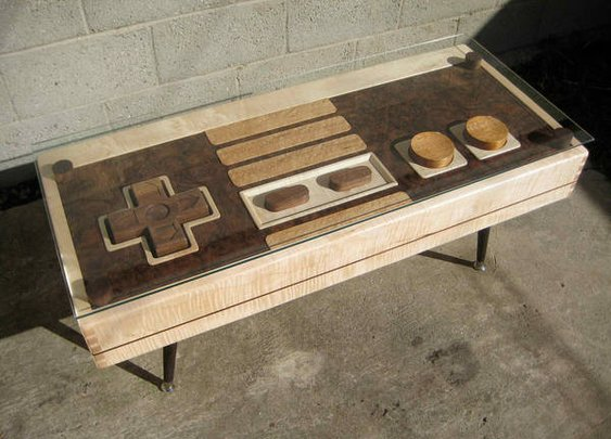 Handmade wooden coffee-table resembles giant NES controller, functions as same - Boing Boing