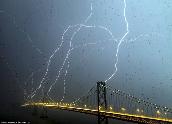 lightning striking San Francisco's Bay Bridge