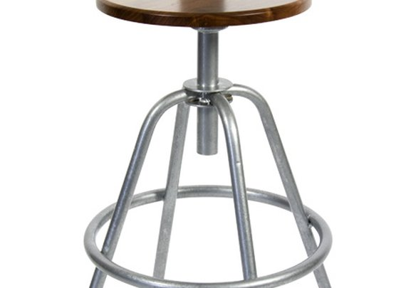 Industrial Factory Stool - Galvanized & Black Walnut