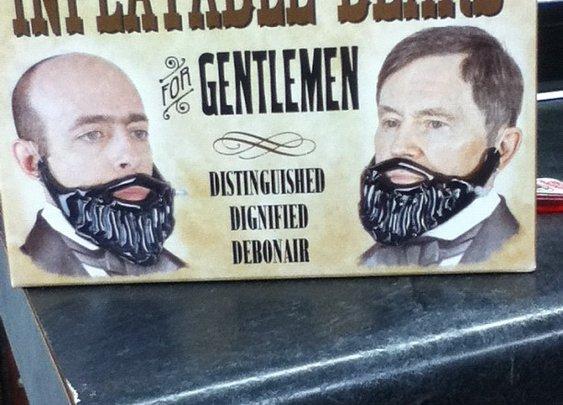 Inflatable beard for the discriminating gentleman!