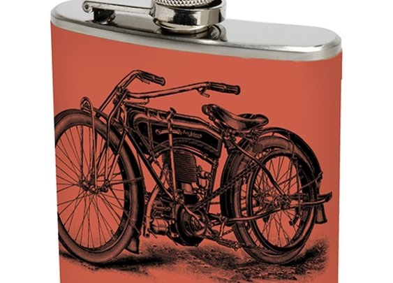 Red Motorcycle Stainless Steel Flask