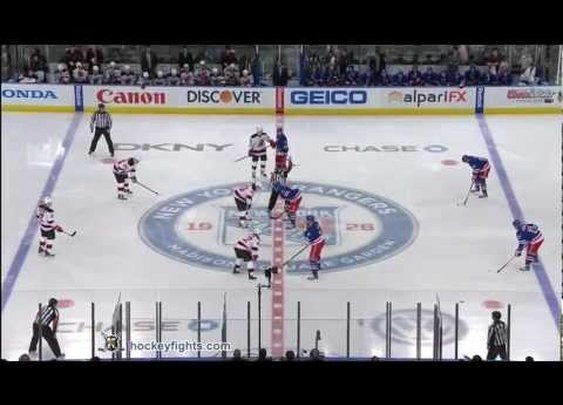 Hockey : New Jersey Devils vs New York Rangers start of game line brawl March 19, 2012 [3 fights]      - YouTube