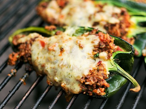 Grilled Chorizo Stuffed Poblano Peppers