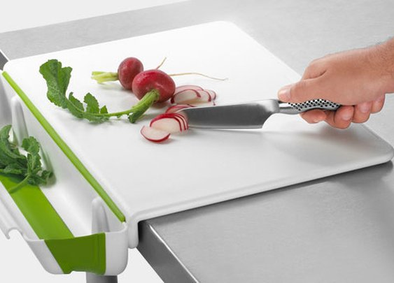 Cutting Board with Collapsible Bin | inStash
