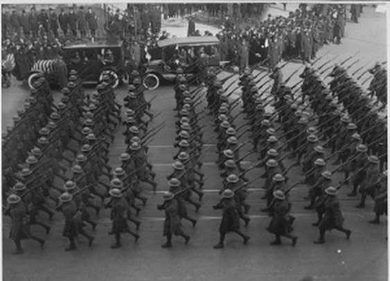 """The 369th Infantry Regiment, """"Harlem Hellfighters,"""" Marching On Fifth Avenue, NYC, 1919"""