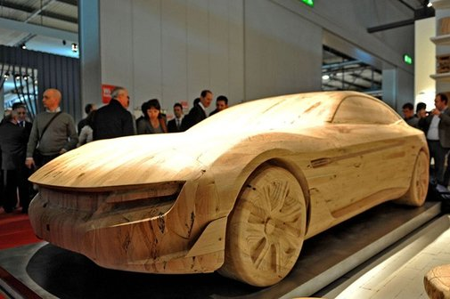 Pininfarina Cambiano carved from wood for furniture show