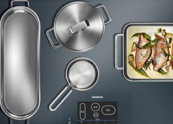 Siemens full-surface induction cooktop lets you arrange the pans wherever you like