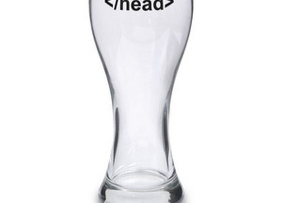 ThinkGeek :: </head> Tag Beer Glass