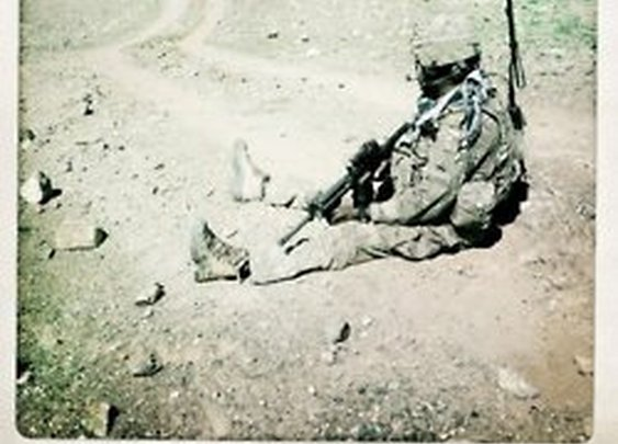 A U.S. Army soldier takes a breather during a foot... | Razistan