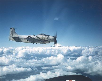 Douglas AD-4 Skyraider over Mt. Fuji circa 1955