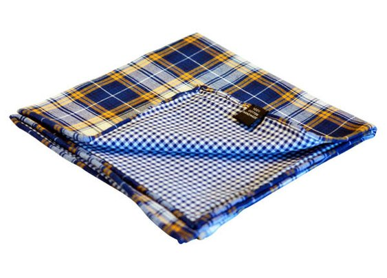 Blue & Orange Plaid Reversible Pocket Square