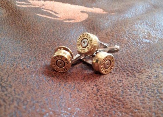 Bullet Cufflinks and Bullet Lapel Pin on Etsy