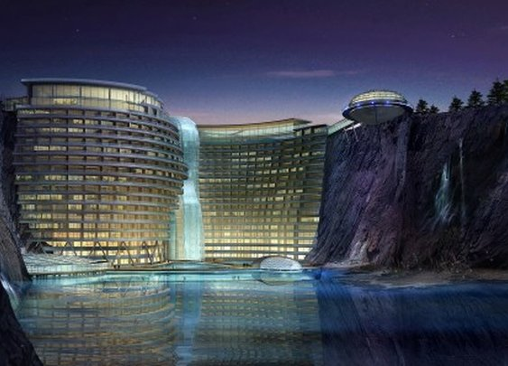 Construction on five-star waterfall hotel commences in abandoned Shanghai quarry