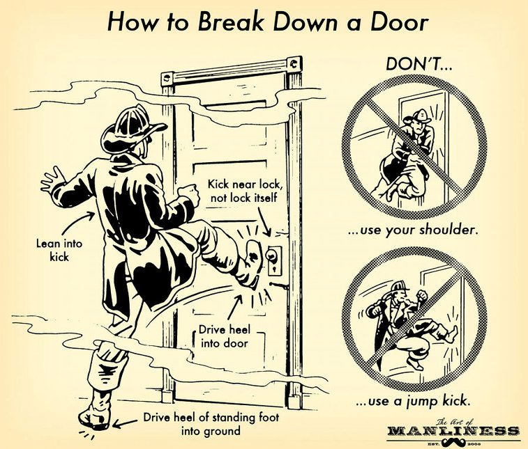 How to Break Down a Door: An Illustrated Guide | The Art of Manliness
