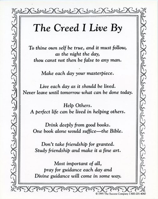 John Wooden's 7 Point Personal Creed.