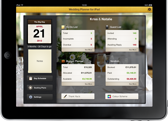 Wedding Planner for iPad makes planning your wedding easy & enjoyable