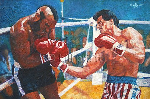 ORIGINAL oil painting of Sylvester Stallone Rocky by billpruittart