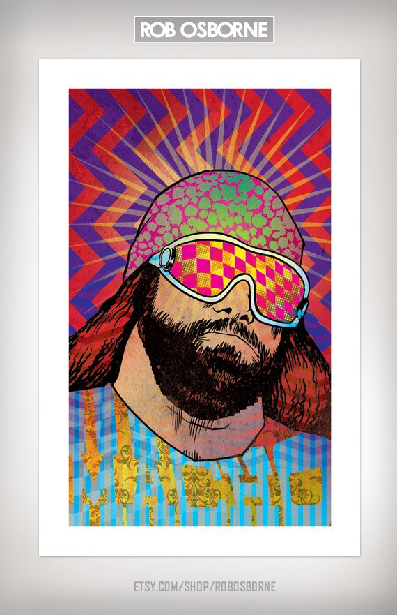 MACHO Randy Savage Wrestling Art Print 11x17 by Rob by RobOsborne