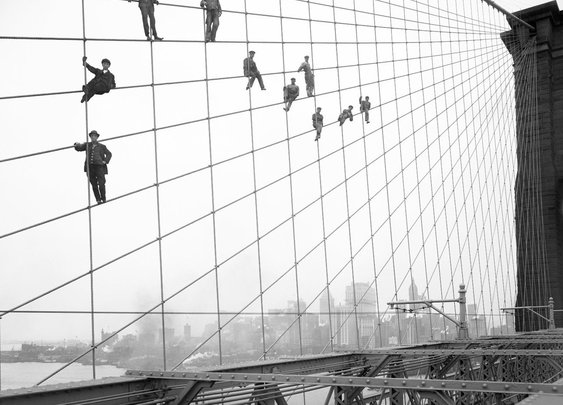 painters. brooklyn bridge. 1914 eugene de salignac