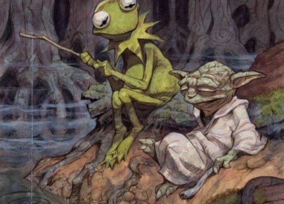 Green Geek Art: Yoda And Kermit:
