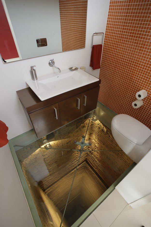 Bathroom with a 15 story drop