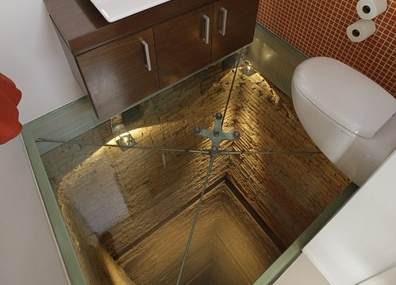 Creepy see-through bathroom floor!