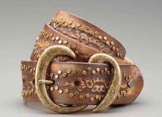 Studded Saddle Leather Belt