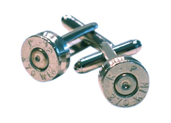 .270 Winchester Nickel Bullet Shell Cufflinks