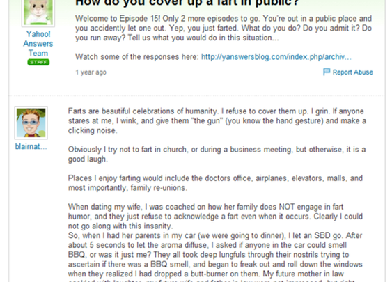 "Hilarious answer to a Yahoo! question of ""how do you cover up a fart in public?"""