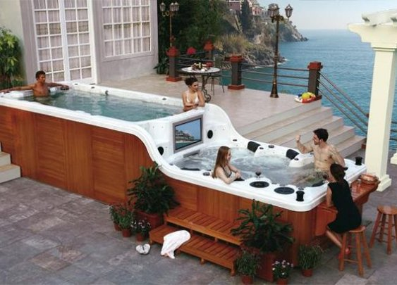 Double decker hot tub gets the whole party started